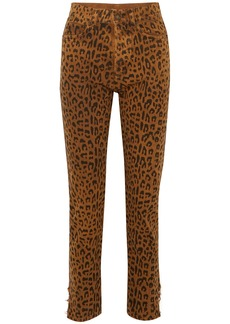 Saint Laurent Woman Leopard-print High-rise Slim-leg Jeans Animal Print
