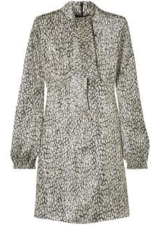 Saint Laurent Woman Leopard-print Silk-blend Lamé Mini Dress Ivory