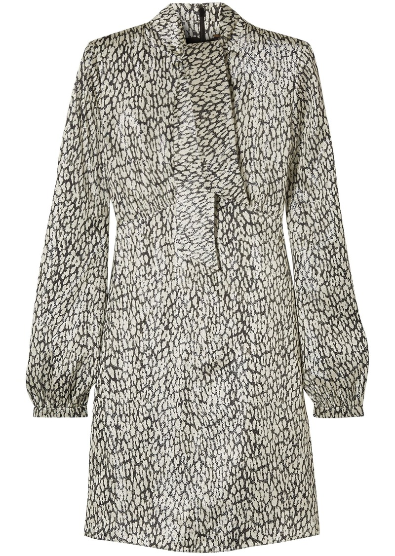 Saint Laurent Woman Leopard-print Silk-blend Lamé Mini Dress Ivory