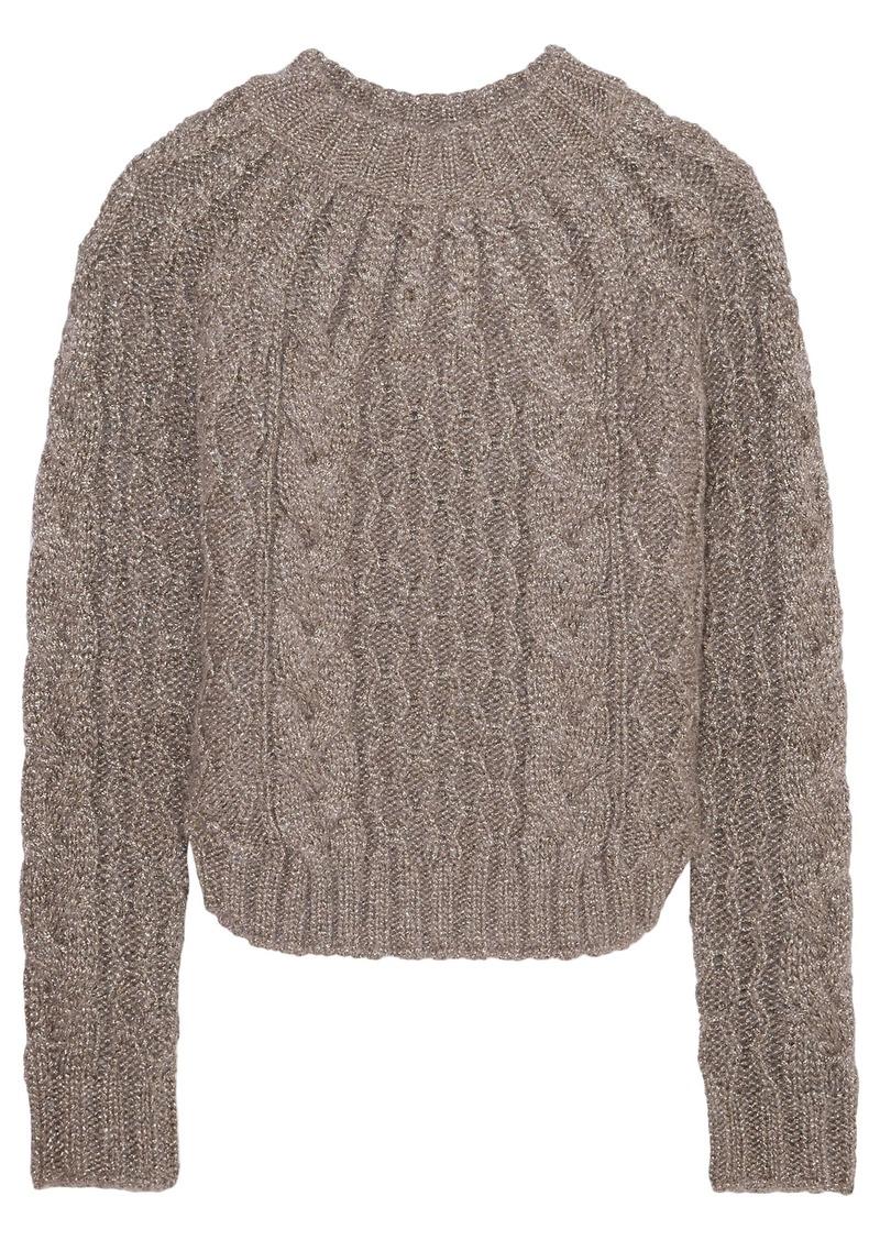 Saint Laurent Woman Metallic Cable-knit Sweater Mushroom