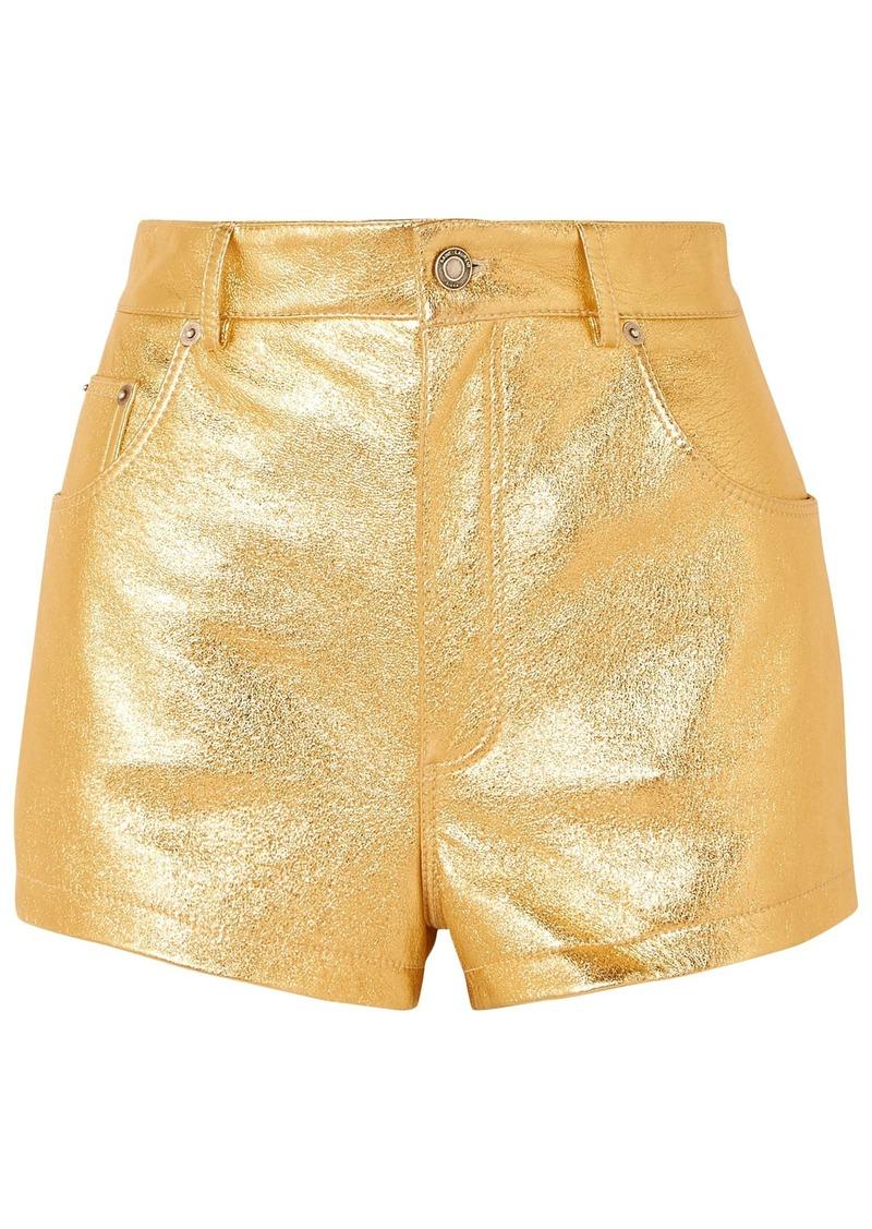Saint Laurent Woman Metallic Crinkled-leather Shorts Gold