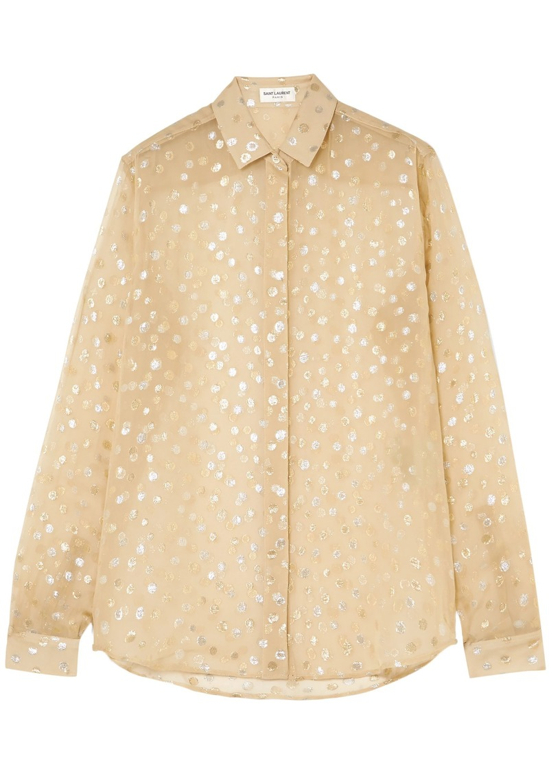 Saint Laurent Woman Metallic Fil Coupé Silk-blend Georgette Shirt Pastel Yellow