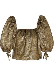 Saint Laurent Woman Metallic Silk-blend Jacquard Top Gold