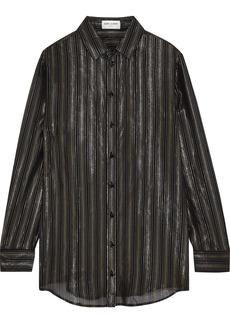 Saint Laurent Woman Metallic Striped Silk-blend Chiffon Shirt Black