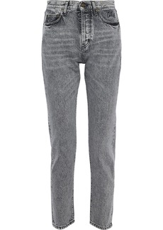 Saint Laurent Woman Mid-rise Slim-leg Jeans Gray