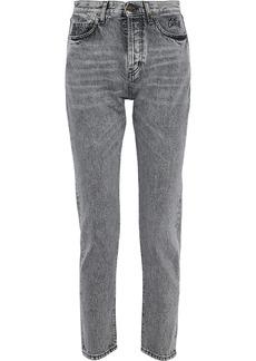 Saint Laurent Woman Mid-rise Slim-leg Jeans Gray