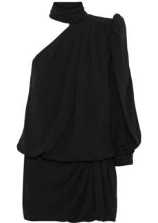 Saint Laurent Woman One-shoulder Gathered Crepe Mini Dress Black