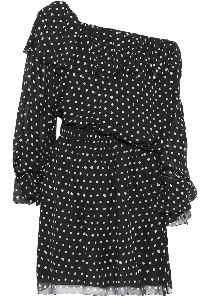 Saint Laurent Woman One-shoulder Polka-dot Silk-georgette Mini Dress Black