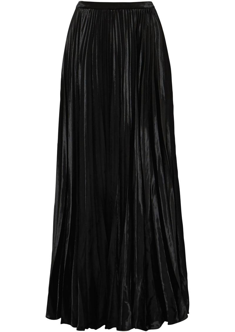 Saint Laurent Woman Plissé-velvet Maxi Skirt Black
