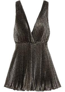 Saint Laurent Woman Plissé-lamé Mini Dress Black