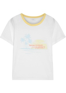 Saint Laurent Woman Printed Cotton-jersey T-shirt White