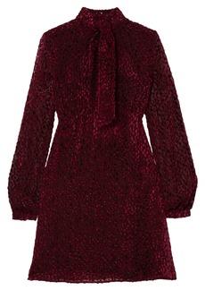 Saint Laurent Woman Pussy-bow Devoré-chiffon Mini Dress Plum