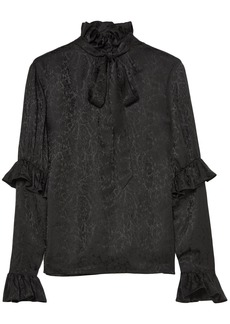 Saint Laurent Woman Pussy-bow Ruffled Silk-satin Jacquard Blouse Black