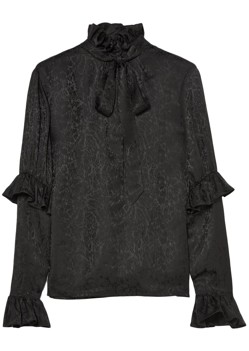 Saint Laurent Woman Pussy-bow Ruffled Silk-satin Jacquard Blouse Black