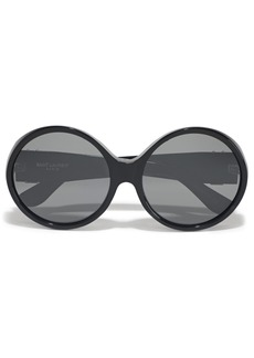 Saint Laurent Woman Round-frame Logo-embellished Acetate Sunglasses Black