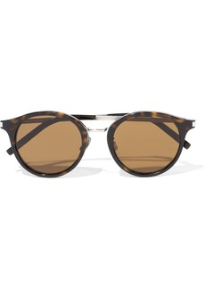 Saint Laurent Woman Round-frame Tortoiseshell Acetate And Silver-tone Sunglasses Brown