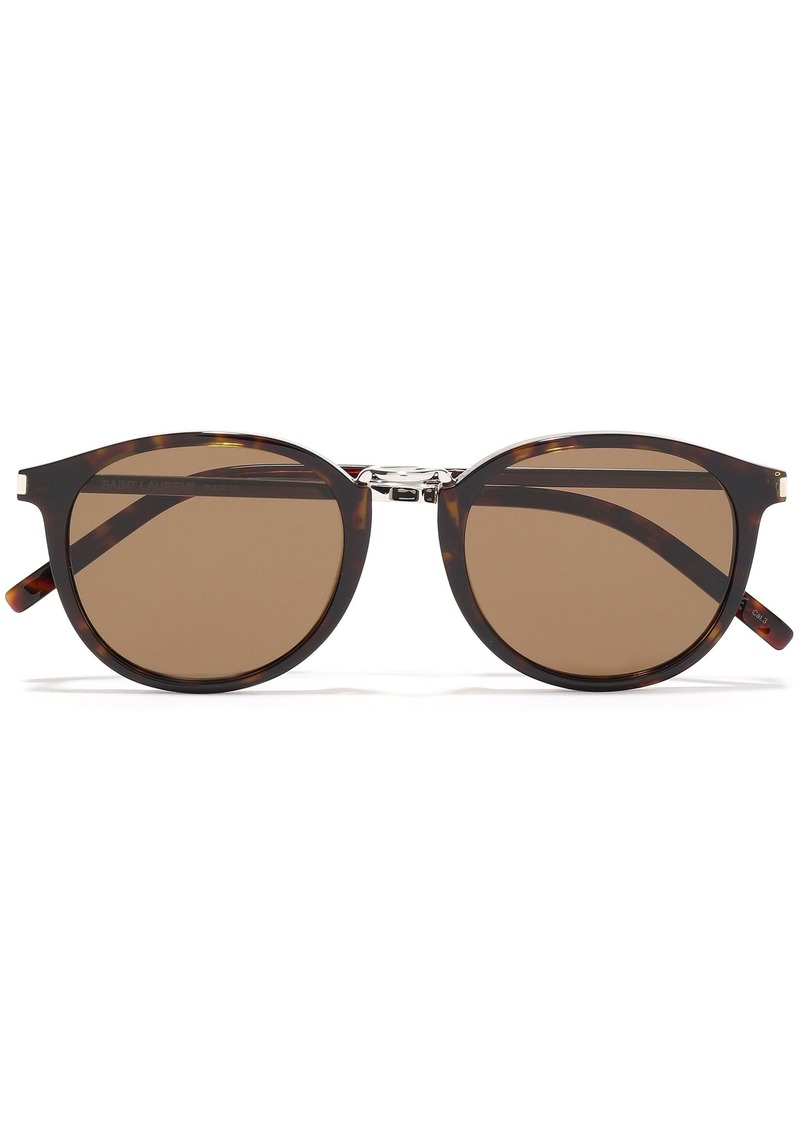 Saint Laurent Woman Round-frame Tortoiseshell Acetate Sunglasses Animal Print