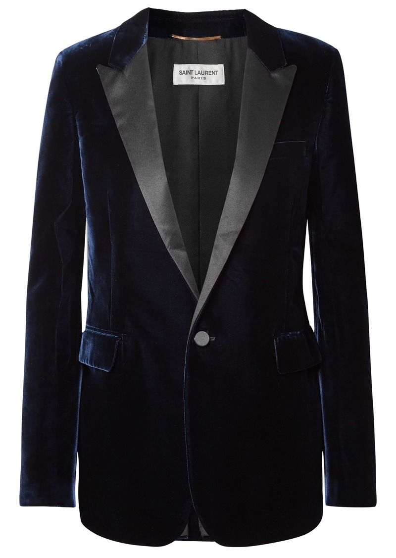 Saint Laurent Woman Satin-trimmed Velvet Blazer Navy