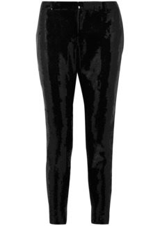 Saint Laurent Woman Sequined Crepe Slim-leg Pants Black