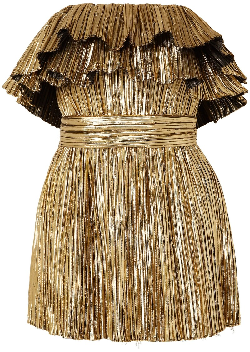 Saint Laurent Woman Strapless Ruffled Pleated Lamé Mini Dress Gold