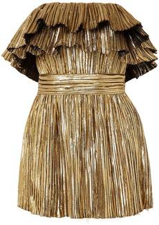 Saint Laurent Woman Strapless Ruffled Pleated Lamé Mini Dress Gold