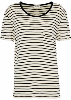 Saint Laurent Woman Striped Silk-jersey T-shirt Black