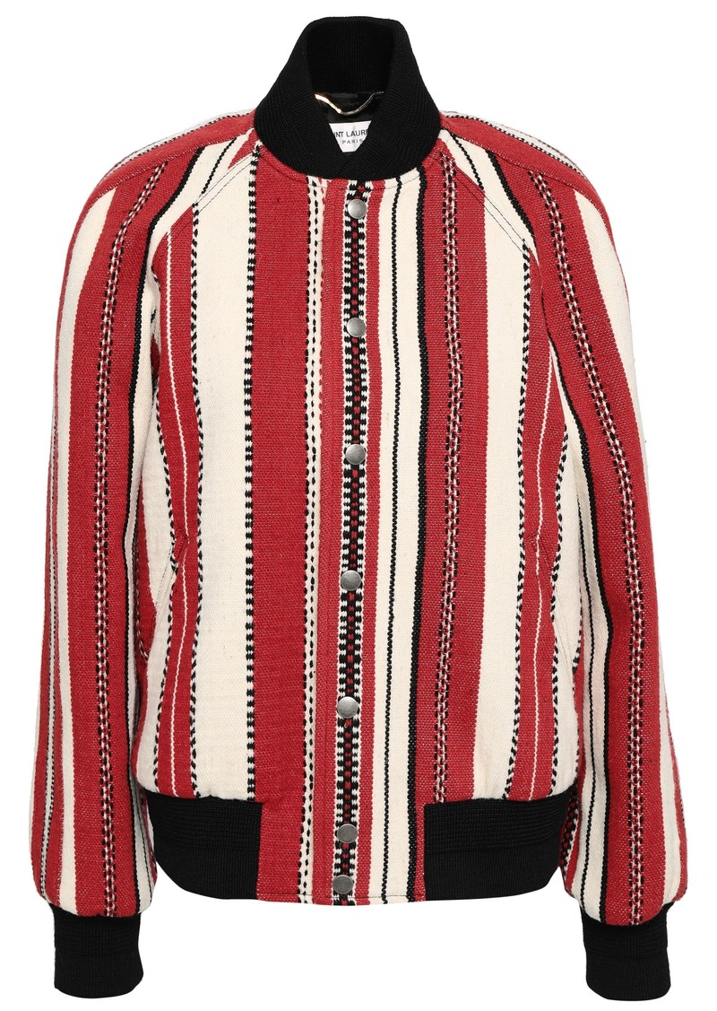 Saint Laurent Woman Striped Wool And Cotton-blend Bomber Jacket Red