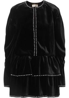 Saint Laurent Woman Studded Ruffled Velvet Mini Dress Black