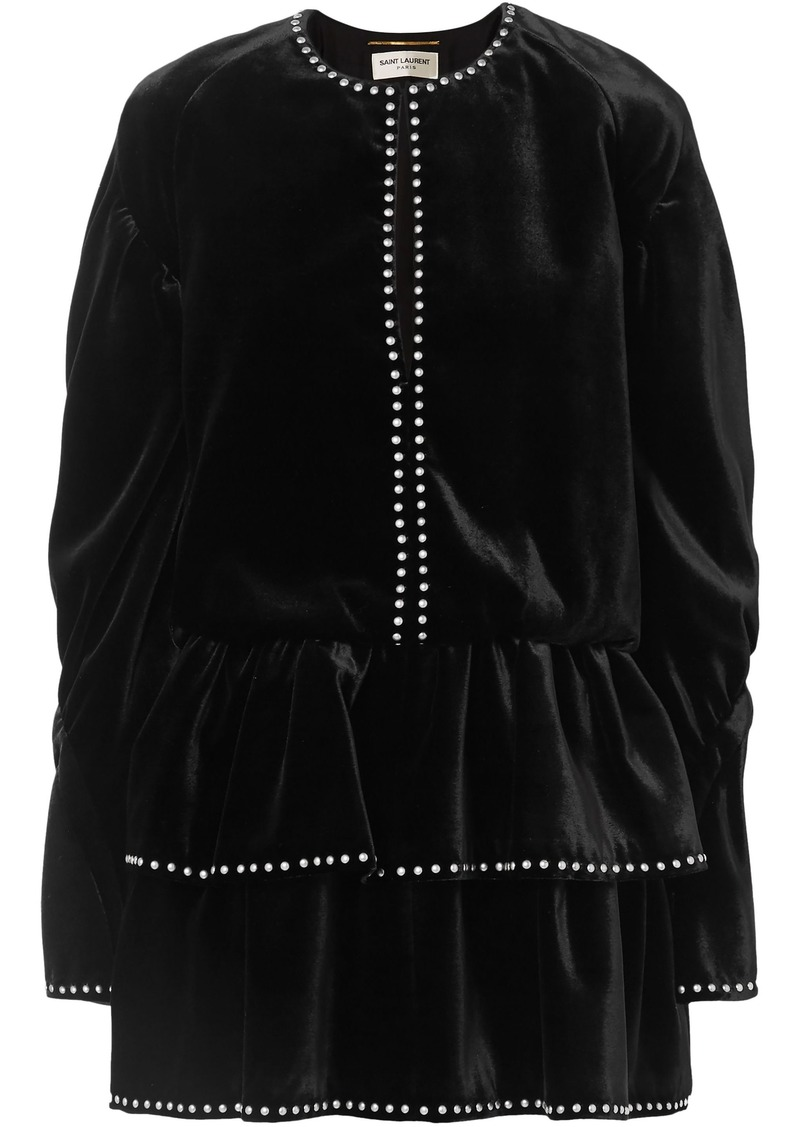 Saint Laurent Woman Studded Ruffled Velvet Mini Dress Black