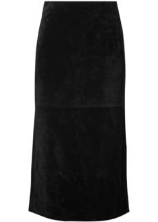 Saint Laurent Woman Suede Midi Skirt Black