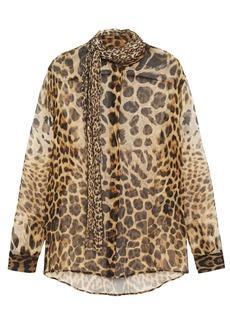 Saint Laurent Woman Tie-neck Leopard-print Silk-chiffon Blouse Animal Print