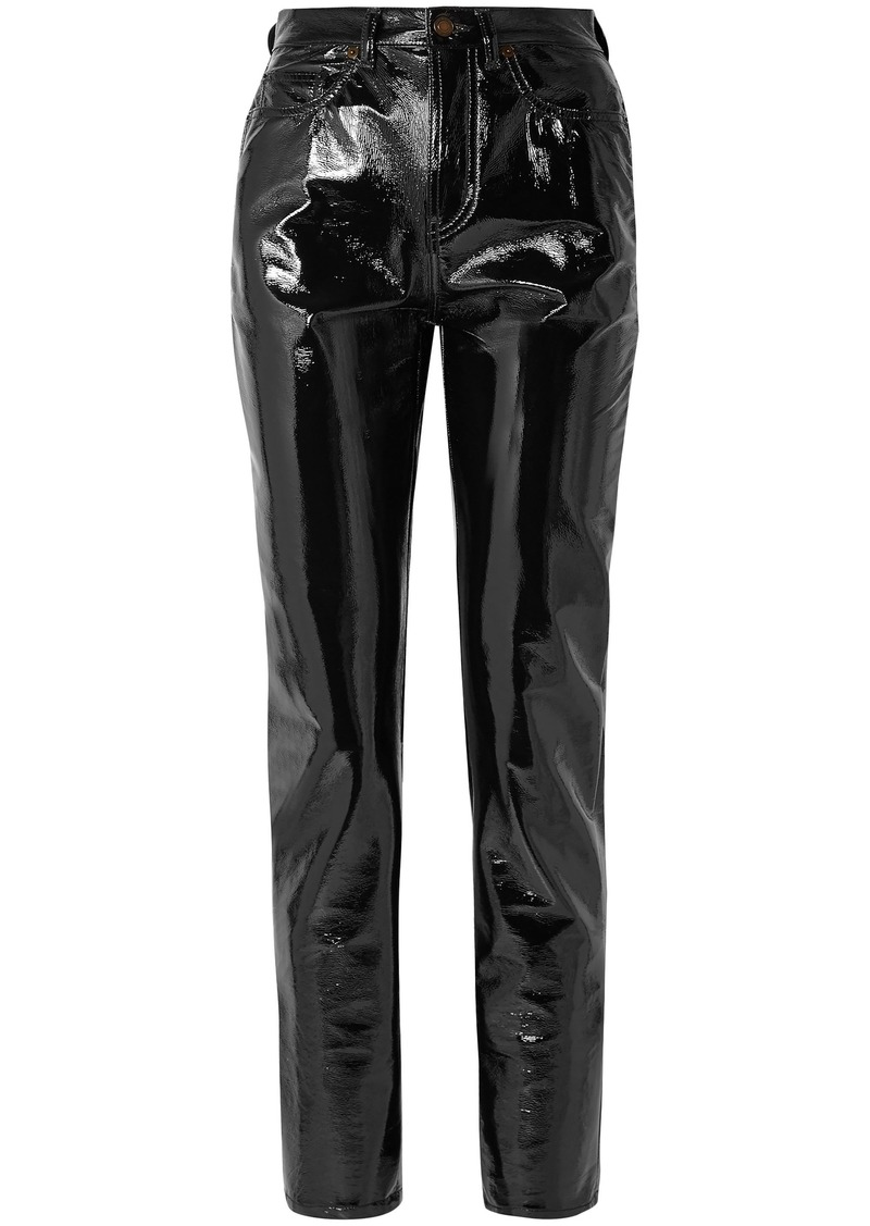 Saint Laurent Woman Vinyl Slim-leg Pants Black