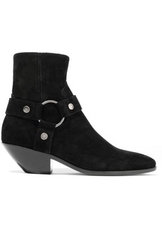 Saint Laurent Woman West 40 Ring-embellished Suede Ankle Boots Black