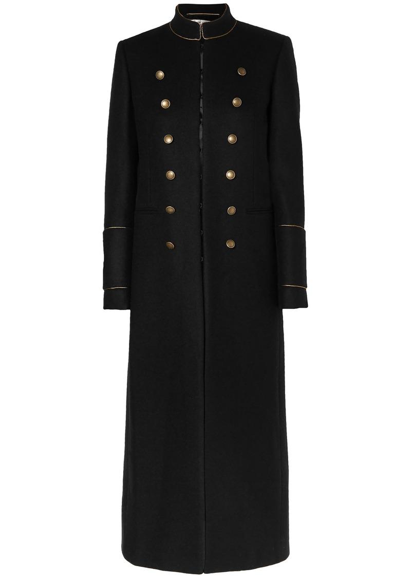 Saint Laurent Woman Wool-felt Coat Black