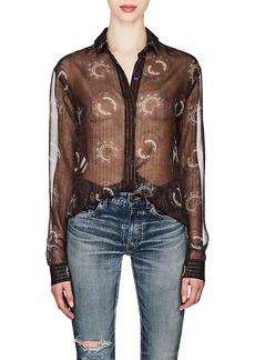 Saint Laurent Women's Embellished Silk Crepe Blouse