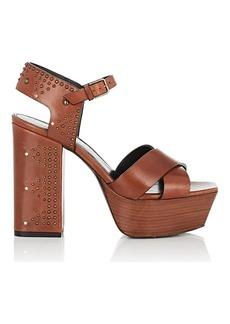 Saint Laurent Women's Farrah Studded Leather Platform Sandals