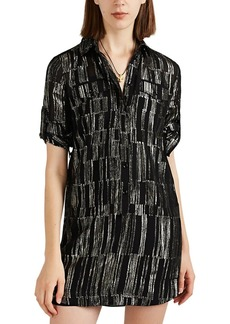 Saint Laurent Women's Lamé-Striped Silk Chiffon Shirtdress