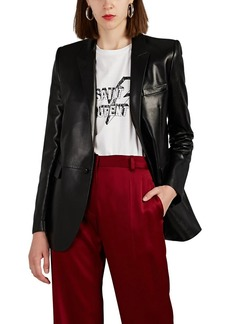 Saint Laurent Women's Leather One-Button Blazer