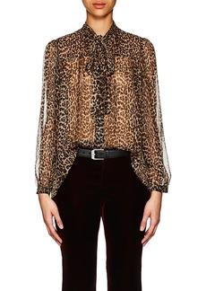 Saint Laurent Women's Leopard-Print Silk Oversized Blouse