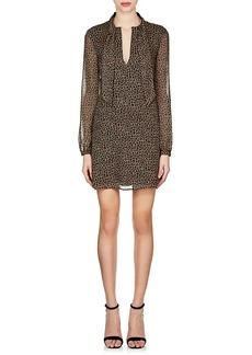 Saint Laurent Women's Leopard-Print Wool Tieneck Dress