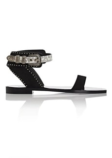 Saint Laurent Women's Liz Suede Ankle-Wrap Sandals