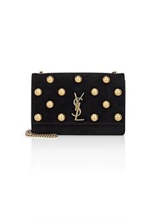 Saint Laurent Women's Monogram Kate Medium Suede Chain Bag - Black