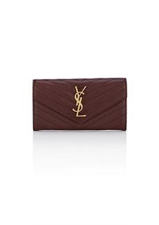 Saint Laurent Women's Monogram Large Leather Envelope Wallet - Red