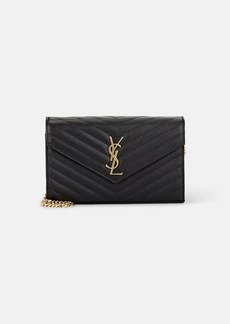 Saint Laurent Women's Monogram Leather Chain Wallet - Black