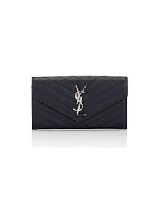 Saint Laurent Women's Monogram Leather Wallet - Navy