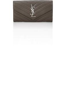Saint Laurent Women's Monogram Leather Wallet - Light Gray