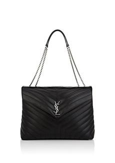 Saint Laurent Women's Monogram Loulou Large Leather Shoulder Bag - Black