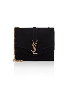 Saint Laurent Women's Monogram Montaigne Medium Suede Chain Bag - Black
