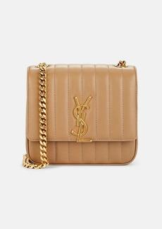 Saint Laurent Women's Monogram Vicky Medium Leather Chain Bag - Beige, Tan