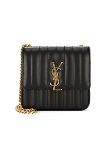 Saint Laurent Women's Monogram Vicky Medium Leather Chain Bag - Black